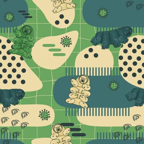 Green, blue, beige tardigrades on abstract seamless pattern with lines, dots and different forms