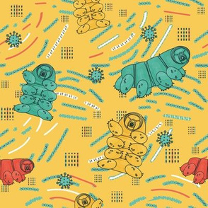 Yellow, blue, white, pink tardigrade seamless repeat  pattern with lines and dots