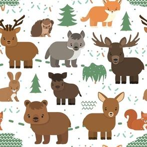 Childish forest animals pattern