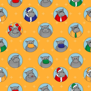 Yellow, blue pattern of hippos in masks, Santa and Birthday  clothes,