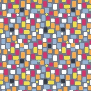 colorful irregular rectangles on dark gray