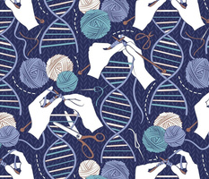 Normal scale // Knitting DNA // navy blue background indigo blue and teal wool balls and knit details