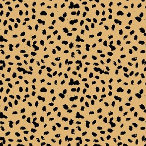Messy animal spots boho minimalist design  cheetah dalmatian ink dots ochre mustard yellow black