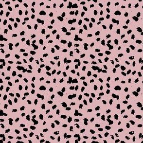 Messy animal spots boho minimalist design  cheetah dalmatian ink dots rose pink black