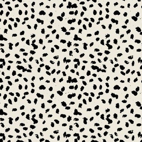 Messy animal spots boho minimalist design  cheetah dalmatian ink dots ivory beige white black