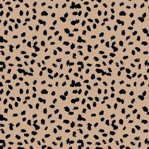 Messy animal spots boho minimalist design  cheetah dalmatian ink dots caramel latte beige black