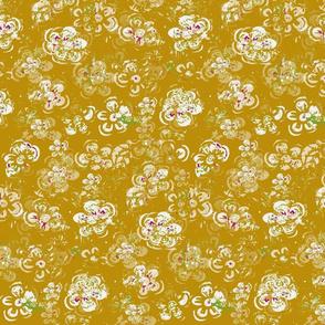 Block Print Spring Mid Century Vintage Textured White Flowers On Golden Yellow