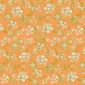 Block Print Spring Mid Century Vintage Textured White Flowers On Mustard