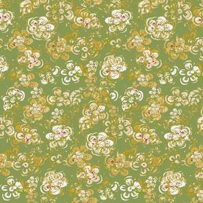 Block Print Spring Mid Century Vintage Textured White Flowers On Khaki Green