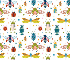 Colourful insects and dots
