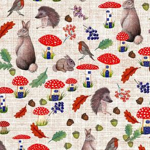 Fairy mushroom houses, rabbits and hedgehogs