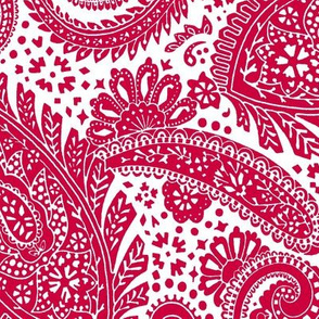 Large Paisley Positivity - white and turkey red