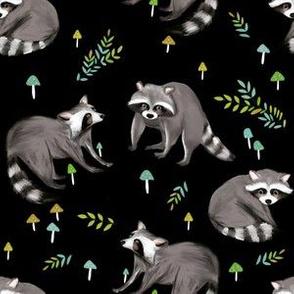 raccoon print-black