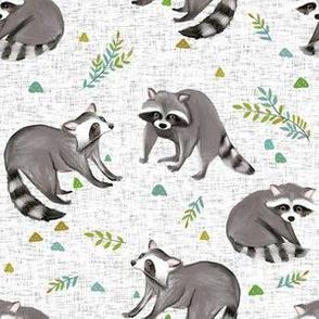 raccoon print-textured white