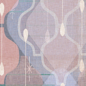 Distressed Atomic Ogee Splash -- Jumbo Modern Farmhouse Home Decor Accent  Ogees in Subtle Pastels -- Periwinkle, Cream, Mauve, Pine Green, Lilac and Slate -- Large Scale