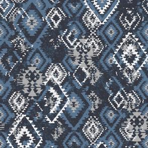 ikat Aztec Diamonds - blue grey charcoal