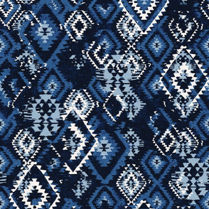Ikat Aztec Diamonds - blue grey mix