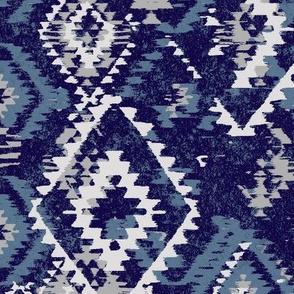 ikat Aztec Diamonds - blue grey navy