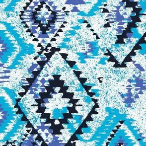 ikat Aztec Diamonds - blues tones and white