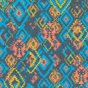 Ikat Aztec Diamonds - coral mustard blue