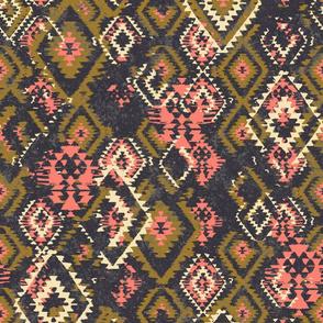 Ikat Aztec Diamonds - olive pink charcoal grey