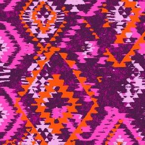 ikat Aztec Diamonds - pink orange