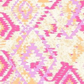 ikat Aztec Diamonds - cantaloupe fuschia lilac
