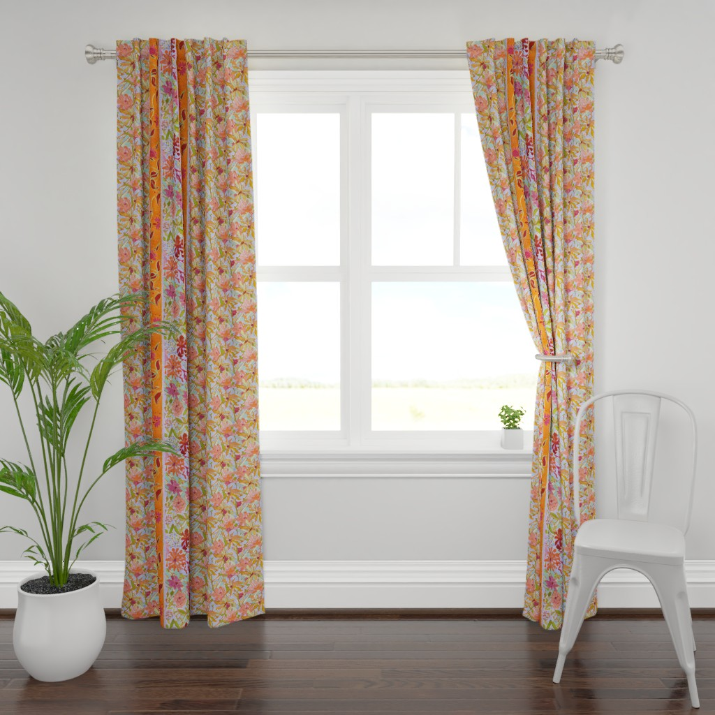 Plymouth Curtain Panel featuring Pastel Wildflowers Wide Stripe by dorothyfaganartist