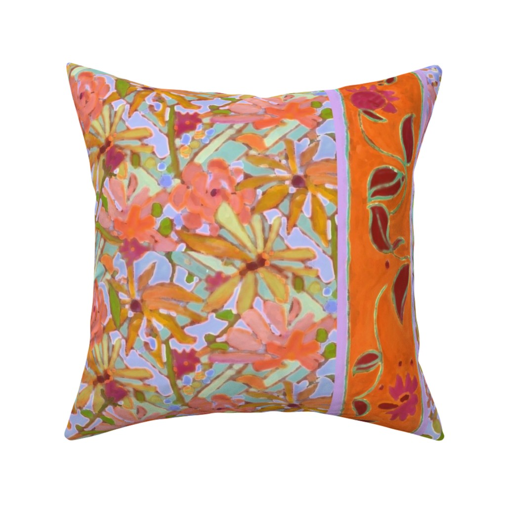 Catalan Throw Pillow featuring Pastel Wildflowers Wide Stripe by dorothyfaganartist