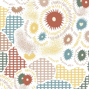 Inspiring Dreams- Coral or Floral, Anemone or Abstract- Rainbow- White Background- Large Scale