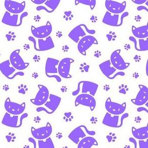 Cute Cat Silhouette Purple on White