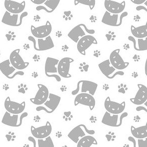 Cute Cat Silhouette Silver on White