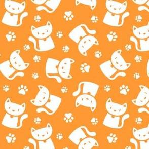 Cute Cat Silhouette White on Orange
