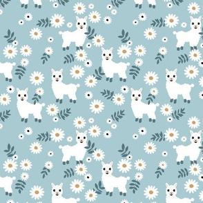 Cute boho alpaca garden and daisy flowers sweet nursery spring summer leaves llama pattern girls cool blue white