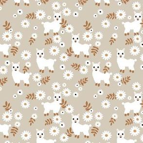 Cute boho alpaca garden and daisy flowers sweet nursery spring summer llama pattern girls beige sand copper rust