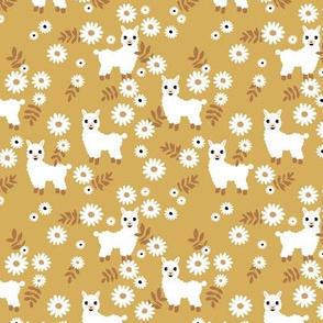 Cute boho alpaca garden and daisy flowers sweet nursery spring summer llama pattern girls ochre mustard yellow