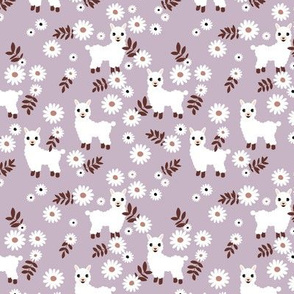 Cute boho alpaca garden and daisy flowers sweet nursery spring summer llama pattern girls lilac burgundy white