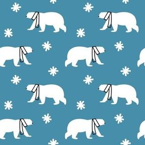 Polar Bears in Scarves - Blue