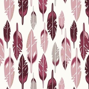 Feathers Mauve and Burgundy