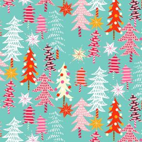 christmas forest // light turquoise // medium scale-