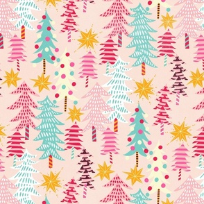 christmas forest // light rose // medium scale