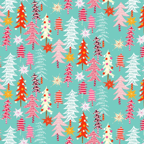 christmas forest // light turquoise // small scale