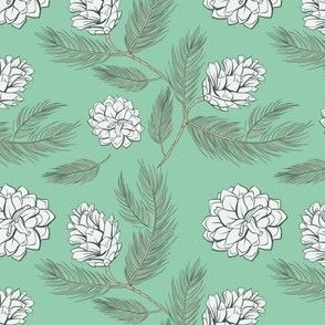 Mint green and white pinecones - vector line art contour drawing