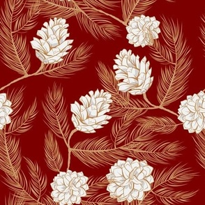 Pinecones festive red colored line art