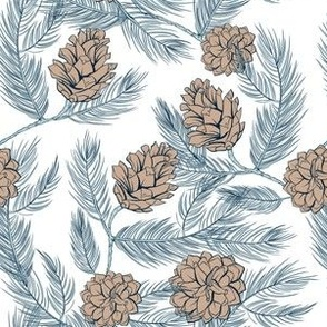 Festive blue and beige pinecones