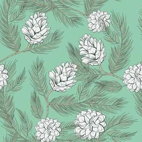 Mint green pinecones