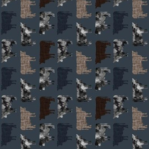 174-16 // rotated small watercolor cows + umber, midnight blue, mud