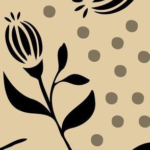 Flower Bud & Dots - Beige / Black - Xlarge