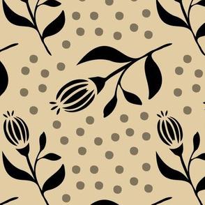 Flower Bud & Dots - Beige / Black - Large