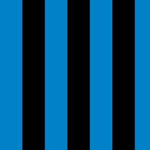 Large True Blue Awning Stripe Pattern Vertical in Black